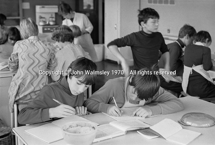Making notes during cooking class, Whitworth Comprehensive School, Whitworth, Lancashire.  1970.