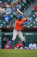 Syracuse Mets Arismendy Alcantara (10) bats during an International League game against the Buffalo Bisons on June 29, 2019 at Sahlen Field in Buffalo, New York.  Buffalo defeated Syracuse 9-3.  (Mike Janes/Four Seam Images)