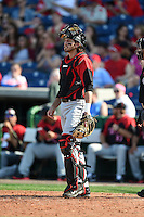 Tampa Spartans catcher Keaton Aldridge (23) during an exhibition game against the Philadelphia Phillies on March 1, 2015 at Bright House Field in Clearwater, Florida.  Tampa defeated Philadelphia 6-2.  (Mike Janes/Four Seam Images)