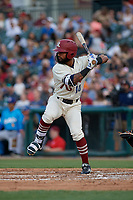 Frisco RoughRiders Eliezer Alvarez (10) bats during a Texas League game against the Amarillo Sod Poodles on May 17, 2019 at Dr Pepper Ballpark in Frisco, Texas.  (Mike Augustin/Four Seam Images)