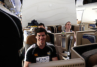Photo: Richard Lane/Richard Lane Photography. London Wasps in Abu Dhabi for their LV= Cup game against Harlequins on 30th January 2011. 01/02/2011. Wasps' Ben Jacobs onboard the flight back to the UK.