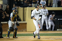 Gavin Sheets (24) of the Wake Forest Demon Deacons lines the game winning hit into right field in the bottom of the 9th inning against the West Virginia Mountaineers in Game Four of the Winston-Salem Regional in the 2017 College World Series at David F. Couch Ballpark on June 3, 2017 in Winston-Salem, North Carolina.  The Demon Deacons walked-off the Mountaineers 4-3.  (Brian Westerholt/Four Seam Images)