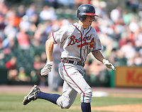 April 17th, 2008:  Infielder Brent Lillibridge (11) of the Richmond Braves, Class-AAA affiliate of the Atlanta Braves, runs to first during a game at Frontier Field in Rochester, NY.  Photo by:  Mike Janes/Four Seam Images