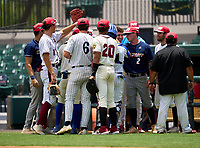 South Team huddle before the 42nd Annual FACA All-Star Baseball Classic on June 5, 2021 at Joker Marchant Stadium in Lakeland, Florida.  (Mike Janes/Four Seam Images)