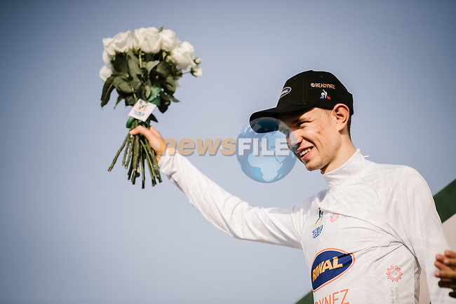 Andreas lorentz Kron (DEN) Riwal Readynez Cycling Team retains the White Jersey at the end of Stage 3 of the Saudi Tour 2020 running 119km from King Saud University to Al Bujairi, Saudi Arabia. 6th February 2020. <br /> Picture: ASO/Pauline Ballet | Cyclefile<br /> All photos usage must carry mandatory copyright credit (© Cyclefile | ASO/Pauline Ballet)