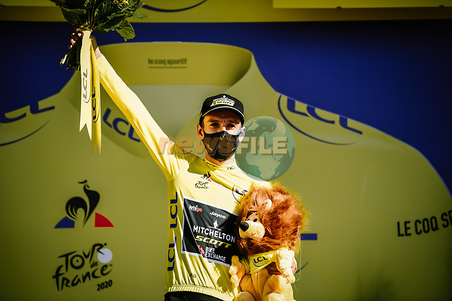 Adam Yates (GBR) Mitchelton-Scott retains the Yellow Jersey at the end of Stage 6 of Tour de France 2020, running 191km from Le Teil to Mont Aigoual, France. 3rd September 2020.<br /> Picture: ASO/Pauline Ballet | Cyclefile<br /> All photos usage must carry mandatory copyright credit (© Cyclefile | ASO/Pauline Ballet)