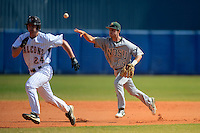 North Dakota State Bison second baseman Jon Hechtner (19) throws during a rundown of Patrick Lancaster (24) during a game against the Bowling Green Falcons at Chain of Lakes Stadium on March 9, 2013 in Winter Haven, Florida.  NDSU defeated Bowling Green 8-5.  (Mike Janes/Four Seam Images)