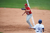 Palm Beach Cardinals first baseman Luke Voit (25) waits for a throw during the first game of a doubleheader against the Dunedin Blue Jays on July 31, 2015 at Florida Auto Exchange Stadium in Dunedin, Florida.  Dunedin defeated Palm Beach 7-0.  (Mike Janes/Four Seam Images)