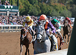 LEXINGTON, KY - OCTOBER 08: #6 Sailor's Valentine and jockey Corey Lanerie win the 2nd race, Maiden for 2 year old Fillies.  Keeneland Race Course.  October 8, 2016, Lexington, Kentucky. (Photo by Candice Chavez/Eclipse Sportswire/Getty Images)