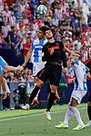 CD Leganes's Unai Bustinza and Atletico de Madrid's Alvaro Morata during La Liga match between CD Leganes and Atletico de Madrid at Butarque Stadium in Madrid, Spain. August 25, 2019. (ALTERPHOTOS/A. Perez Meca)