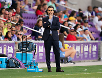 ORLANDO, FL - MARCH 05: Jorge Vilda of Spain watches his team during a game between Spain and Japan at Exploria Stadium on March 05, 2020 in Orlando, Florida.