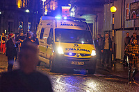 Pictured: An ambulance arrives in Wind Street, Swansea, south Wales, UK. Friday 21 December 2018<br /> Re: Black Eye Friday, also known as Mad Friday or Black Friday which is the last Friday before Christmas Day.
