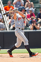Bryce Harper #34 of the Hagerstown Suns follows through on his swing against the Kannapolis Intimidators at Fieldcrest Cannon Stadium on May 30, 2011 in Kannapolis, North Carolina.   Photo by Brian Westerholt / Four Seam Images