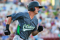 Clinton LumberKings outfielder Jack Larsen (3) rounds first base during a Midwest League game against the Wisconsin Timber Rattlers on June 29, 2018 at Fox Cities Stadium in Appleton, Wisconsin. Clinton defeated Wisconsin 9-7. (Brad Krause/Four Seam Images)