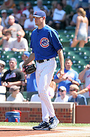 Chicago Cubs pitcher Sean Marshall before catching the ceremonial first pitch from Bill Buckner (not pictured) before a game against the New York Mets at Wrigley Field on July 15, 2006 in Chicago, Illinois.  (Mike Janes/Four Seam Images)