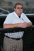 Kannapolis Intimidators trainer Joe Geck prior to the game against the Lakewood BlueClaws at Kannapolis Intimidators Stadium on May 9, 2016 in Kannapolis, North Carolina.  The BlueClaws defeated the Intimidators 4-1.  (Brian Westerholt/Four Seam Images)