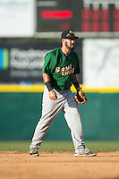 Savannah Sand Gnats shortstop Luis Guillorme (13) on defense against the Hickory Crawdads at L.P. Frans Stadium on June 14, 2015 in Hickory, North Carolina.  The Crawdads defeated the Sand Gnats 8-1.  (Brian Westerholt/Four Seam Images)