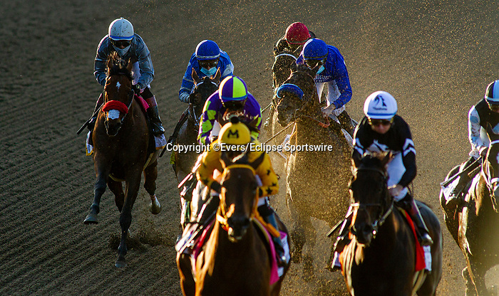 March 06, 2021: Idol and Joel Rosario settle in the back of the pack in the Santa Anita Handicap at Santa Anita Park in Arcadia, California on March 06, 2021. Evers/Eclipse Sportswire/CSM