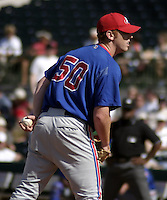 March 26, 2004:  Pitcher Jeff Farnsworth of the Montreal Expos (Washington Nationals) organization during Spring Training at Osceola County Stadium in Kissimmee, FL.  Photo copyright Mike Janes/Four Seam Images