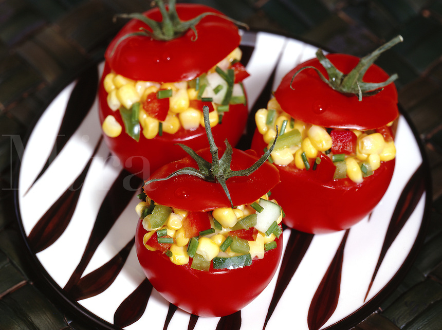 Fresh Tomatoes stuffed with Corn Salad