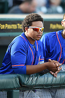 St. Lucie Mets third baseman Jhoan Urena (13) in the dugout before a game against the Bradenton Marauders on April 11, 2015 at McKechnie Field in Bradenton, Florida.  St. Lucie defeated Bradenton 3-2.  (Mike Janes/Four Seam Images)