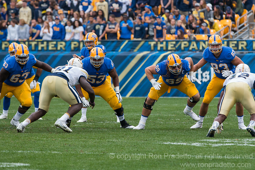 Pitt offensive line. The Pitt Panthers defeated the Georgia Tech Yellow Jackets 37-34 at Heinz Field in Pittsburgh, Pennsylvania on October 08, 2016.