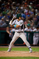 Vermont Lake Monsters first baseman Aaron Arruda (27) at bat during a game against the Tri-City ValleyCats on June 16, 2018 at Joseph L. Bruno Stadium in Troy, New York.  Vermont defeated Tri-City 6-2.  (Mike Janes/Four Seam Images)