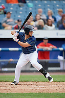 Syracuse Chiefs first baseman Jacob Wilson (19) at bat during a game against the Lehigh Valley IronPigs on May 20, 2018 at NBT Bank Stadium in Syracuse, New York.  Lehigh Valley defeated Syracuse 5-2.  (Mike Janes/Four Seam Images)