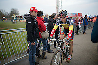 Belgian Champion Sven Nys (BEL/Crelan-AAdrinks) riding straight through to his camper without stopping after finishing a (very) disappointing 15th<br /> <br /> Koksijde CX World Cup 2014