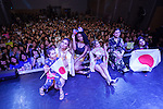 (L to R) Dina-Jane Hansen, Normani Hamilton, Ally Brooke, Lauren Jauregui and Camila Cabello, members of the American five-piece girl group Fifth Harmony pose for the cameras during a fan event on July 9, 2016, in Tokyo, Japan. Fifth Harmony is in Japan for the first time to promote their new song Work from Home after finishing their South American tour. (Photo by Rodrigo Reyes Marin/AFLO)