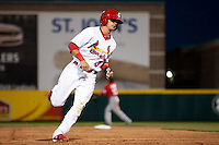 Jose Garcia (3) of the Springfield Cardinals heads to third base during a game against the Frisco RoughRiders on April 14, 2011 at Hammons Field in Springfield, Missouri.  Photo By David Welker/Four Seam Images.