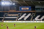 The scoreboard celebrates the goal to an empty stadium. Hull 2 Sunderland 2, League One 20th April 2021.