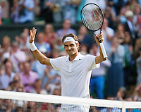 England, London, 28.06.2014. Tennis, Wimbledon, AELTC, Men's semifinal Roger Federer (SUI) and Milos Raonic (CAN), Pictured: Roger Federer celebrating his victory<br /> Photo: Tennisimages/Henk Koster