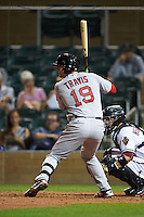 Scottsdale Scorpions first baseman Sam Travis (19) at bat during an Arizona Fall League game against the Salt River Rafters on October 13, 2015 at Salt River Fields at Talking Stick in Scottsdale, Arizona.  Salt River defeated Scottsdale 5-3.  (Mike Janes/Four Seam Images)