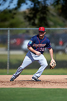 Minnesota Twins infielder Buck Britton (32) during a Spring Training practice on March 1, 2016 at Hammond Stadium in Fort Myers, Florida.  (Mike Janes/Four Seam Images)