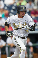 Vanderbilt Commodores outfielder Rhett Wiseman (8) runs to first base during the NCAA College baseball World Series against the Cal State Fullerton Titans on June 15, 2015 at TD Ameritrade Park in Omaha, Nebraska. Vanderbilt beat Cal State Fullerton 4-3. (Andrew Woolley/Four Seam Images)