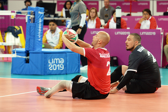Mikael Bartholdy and Jesse Buckingham, Lima 2019 - Sitting Volleyball // Volleyball assis.<br /> Canada competes in men's Sitting Volleyball // Canada participe au volleyball assis masculin. 24/08/2019.