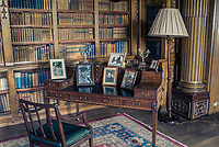 Detail of a desk in the library at Highclere Castle