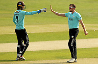 Daniel Moriarty of Surrey (right) is congratulated by Ben Foakes having taken the wicket of Adam Wheater during Essex Eagles vs Surrey, Vitality Blast T20 Cricket at The Cloudfm County Ground on 11th September 2020
