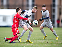 Ian Christianson (6) of Georgetown fights to keep the ball away from Brandon Savino (3) of St. John's during the game at North Kehoe Field in Washington DC. Georgetown defeated St. John's, 2-1, in the Big East conference tournament quarterfinals.