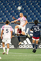 FOXBOROUGH, MA - SEPTEMBER 04: Eric Leonard #3 Forward Madison FC heads a high ball during a game between Forward Madison FC and New England Revolution II at Gillette Stadium on September 04, 2020 in Foxborough, Massachusetts.