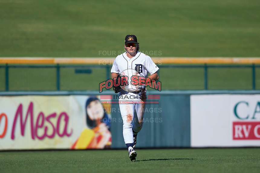 Mesa Solar Sox outfielder Cam Gibson (3), of the Detroit Tigers organization, jogs off the field between innings of an Arizona Fall League game against the Scottsdale Scorpions on October 24, 2017 at Sloan Park in Mesa, Arizona. The Scorpions defeated the Solar Sox 3-1. (Zachary Lucy/Four Seam Images)