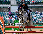 April 25, 2021: Oliver Townend competes during a double clear round in the Stadium Jumping finals to win the Land Rover 5* 3-Day Event aboard Ballaghmor Class at the Kentucky Horse Park in Lexington, Kentucky. John Voorhees/Eclipse Sportswire/CSM
