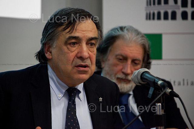 """Leoluca Orlando, Italian politician - 2012<br /> <br /> London, 06/02/2012. """"The Criminality of those in power and the Italian decline"""". Leoluca Orlando (former anti-mafia Mayor of Palermo and Italia dei Valori MP) and Roberto Scarpinato (Magistrate and General attorney of the Prosecutor of Caltanissetta, Sicily) held a meeting at LSE, in which they discussed the mafia as a powerful criminal system involved in both the economy and politics in Italy."""