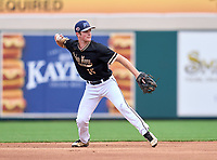Bishop Moore Hornets shortstop Dominic Scavone (15) during the 42nd Annual FACA All-Star Baseball Classic on June 6, 2021 at Joker Marchant Stadium in Lakeland, Florida.  (Mike Janes/Four Seam Images)