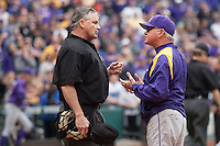 LSU Tigers Head Coach Paul Mainieri (1) argues with the home plate umpire after Kramer Robertson was called out at the plate during the NCAA baseball game against the Baylor Bears on March 7, 2015 in the Houston College Classic at Minute Maid Park in Houston, Texas. LSU defeated Baylor 2-0. (Andrew Woolley/Four Seam Images)
