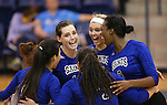 during a college volleyball game  in Lexington Park, MD, on Wednesday, Oct. 29, 2014. Marymount won 3-2 to go 24-9 on the season.<br /> Photo by Cathleen Allison