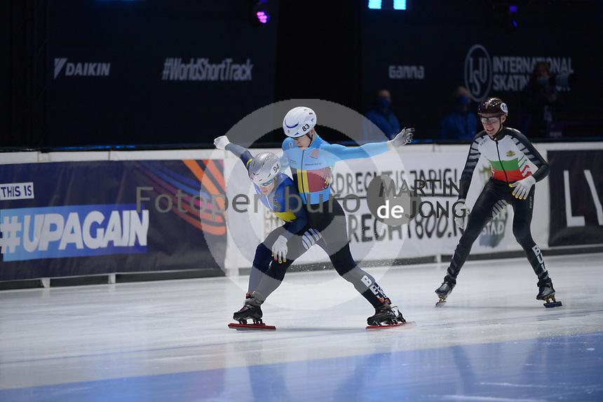 SPEEDSKATING: DORDRECHT: 06-03-2021, ISU World Short Track Speedskating Championships, RF 1500m Men, Oleh Handei (UKR), Rino Vanhooren (BEL), Dimitar Georgiev (BUL), ©photo Martin de Jong