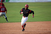 Batavia Muckdogs right fielder Brayan Hernandez (41) running the bases on a triple during the first game of a doubleheader against the Mahoning Valley Scrappers on August 28, 2017 at Dwyer Stadium in Batavia, New York.  Mahoning Valley defeated Batavia 6-3.  (Mike Janes/Four Seam Images)