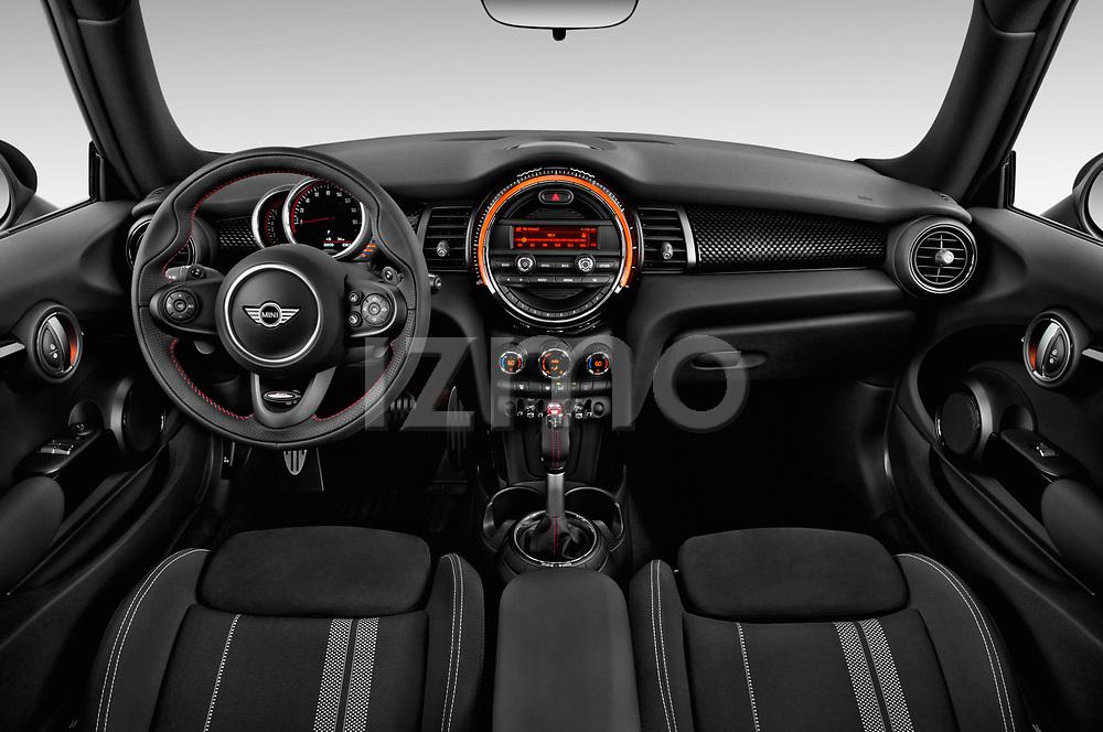 Stock photo of straight dashboard view of 2019 MINI Cooper John-Cooper-Works-Hardtop Door Hatchback Dashboard